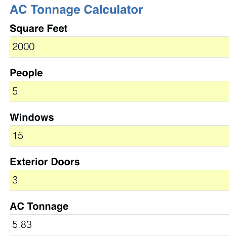 Ac Tonnage Calculator Air Conditioning Company Tampa